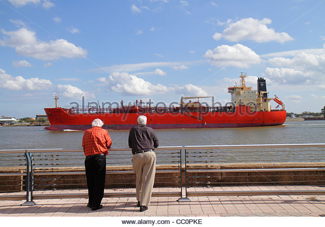 Louisiana New Orleans Spanish Plaza Mississippi River cargo ship vessel hull navigation commercial shipping water - Stock Image