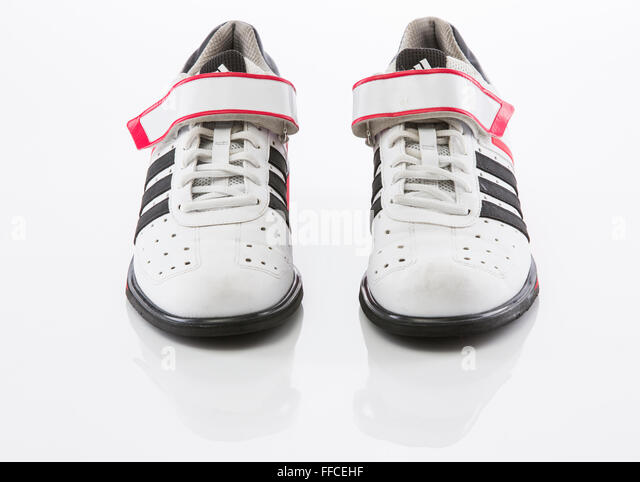 Adidas Olympic weightlifting shoes on a white background with a reflection. - Stock Image