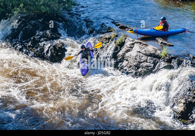 Llangollen Whirewater canoeing - Stock Image