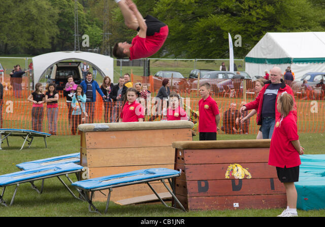 Sunday 20th May 2012, Witton Country Park, Blackburn England. The young people of the Fleetwood based Bulldogs Gymnastics - Stock Image
