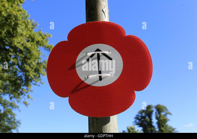 Sign for Poppies Weeping Window at Black Watch Museum Perth Scotland  July 2016 - Stock Image