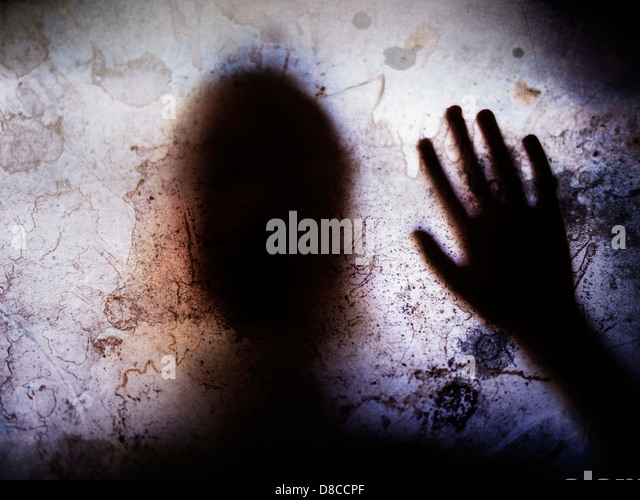 Touched by your presence. Child silhouette - Stock Image