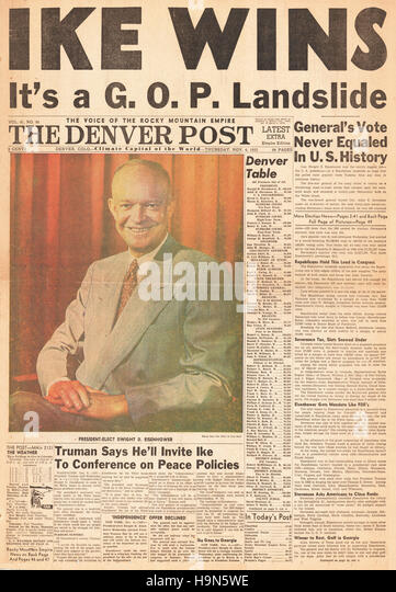 1952 Denver Post (USA)  front page Dwight D Eisenhower elected 34th President of the United States - Stock Image