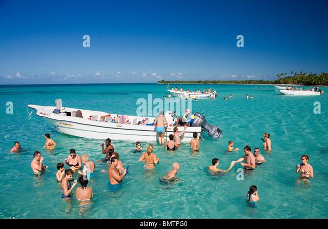 Dominican Republic, La Altagracia Province, Del Este National Park, Bayahibe Coast, sandbank - Stock Image
