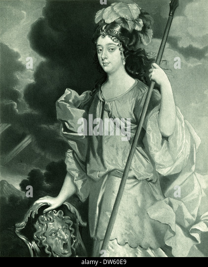 Antique engraving, Barbara Palmer, 1st Duchess of Cleveland, Countess of Castlemaine. - Stock Image