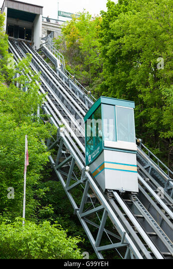 A popular funicular in old town Quebec, Ontario, Canada - Stock Image