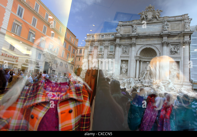 Italy, Rome, Rom, Roma, city, Piazza di Trevi, trevi, fountians, fountain - Stock Image