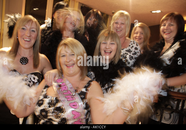 UK, England, Harrogate, Crown Hotel, birthday party, women, - Stock Image
