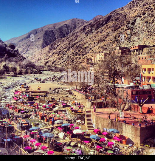 Town in Ouirka valley, Atlas Mountains, Morocco - Stock Image