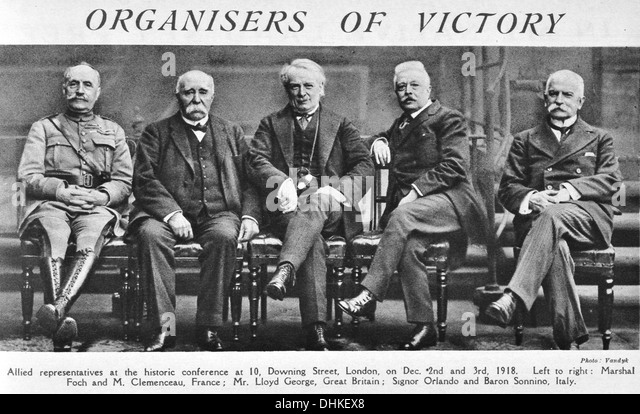 Organisers of Victory. Allied representatives at the historic conference at 10, Downing Street, London, on Dec. - Stock Image