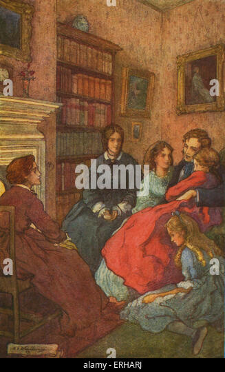 Little Women by Louisa M Alcott. Illustrations by M V Wheelhouse (1895-1933). Caption reads:  As twilight gathered, - Stock Image
