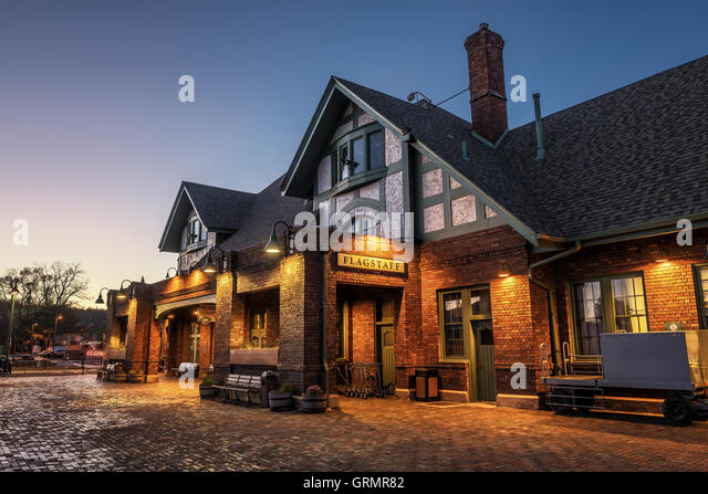 Historic train station in Flagstaff at sunset located on Route 66 - Stock Image
