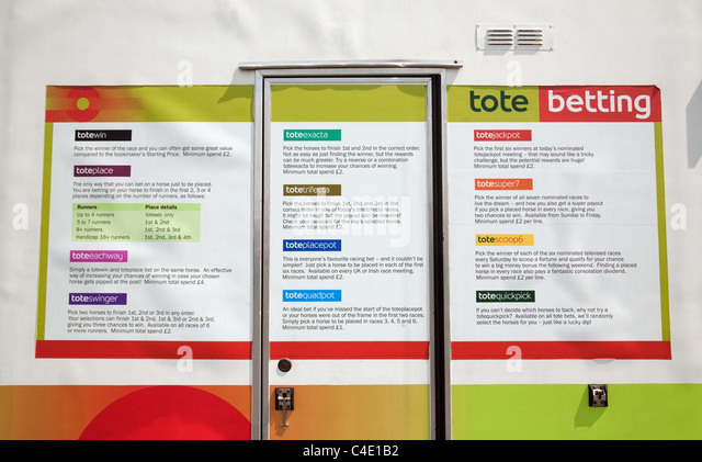 Tote sign describing the various methods of betting for horse racing, newmarket, Suffolk, UK - Stock Image