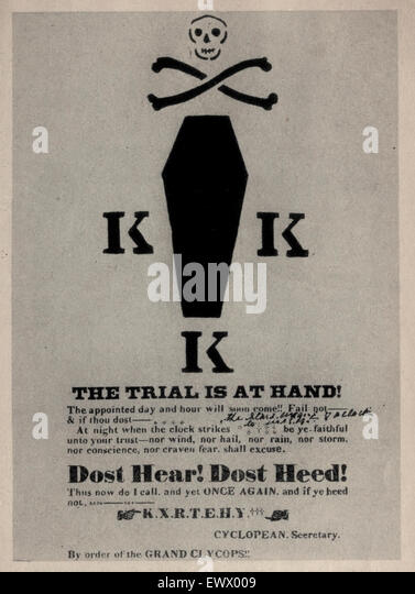 The Trial is at hand - a rare Ku Klux Klan Broadside warning, printed and posted in Tuscaloosa, Alabama, circa 1868 - Stock Image