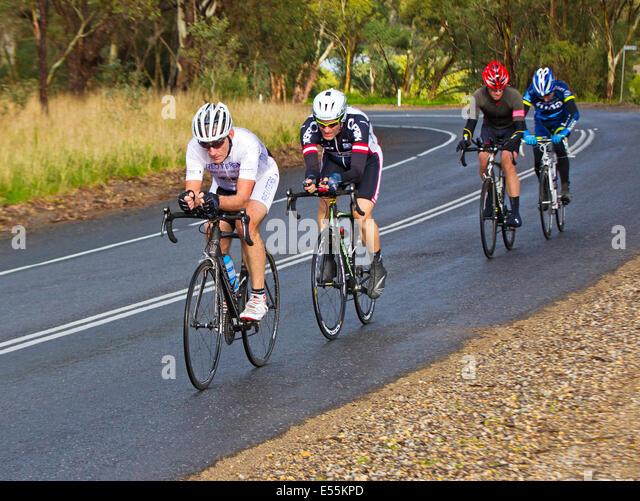 Southern Districts Veterans and Ladies Cycling Club racing McLaren Flat South Australia Fleurieu Peninsula - Stock Image