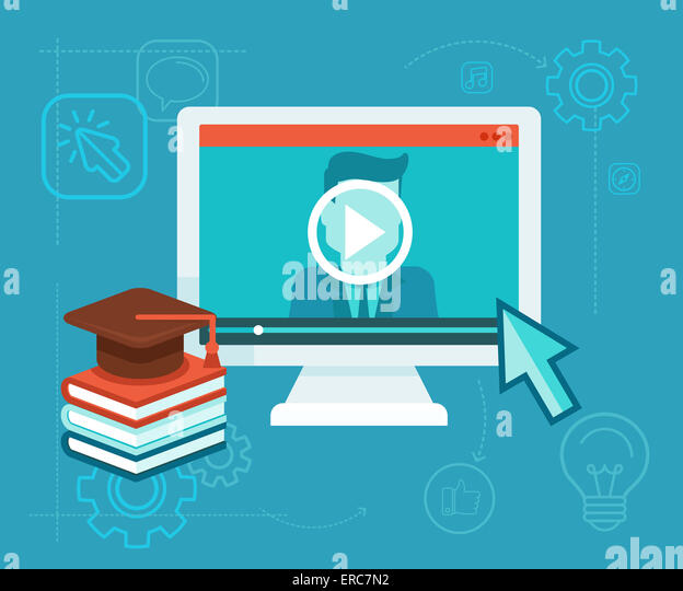 Webinar concept in flat style - video player - online education - Stock Image