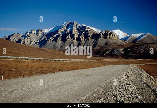 Trans-Alaska Pipeline and Haul Road Arctic Alaska Fall - Stock Image