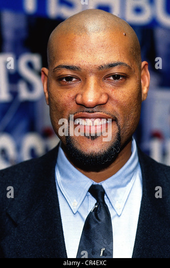 Fishburne, Laurence (Larry), * 30.7.1961, US actor, portrait, 1991, bald, beard, smiling, smile, - Stock Image