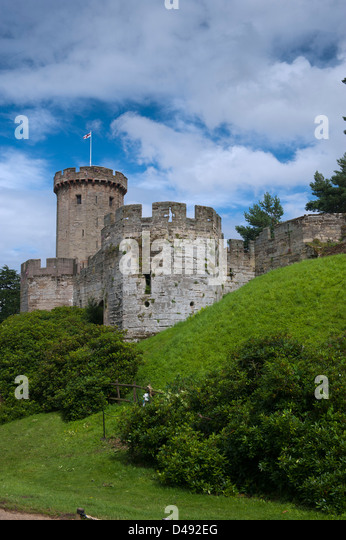 Towers and turrets on Warwick Castle. England. - Stock Image