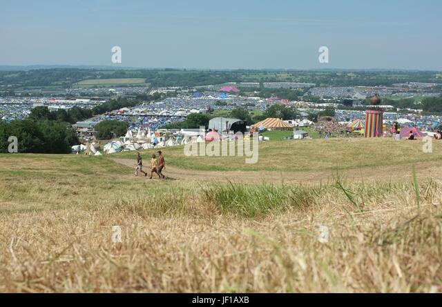 The view from the hill near the Park field overlooking Glastonbury Festival, Pilton, Somerset, England, United Kingdom, - Stock Image