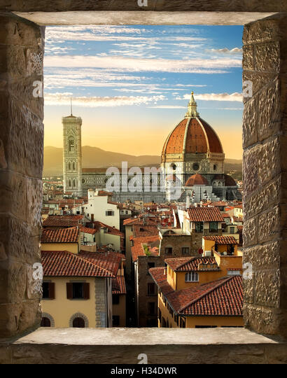 View on Cattedrale di Santa Maria del Fiore in Florence from ancient window, Italy - Stock Image