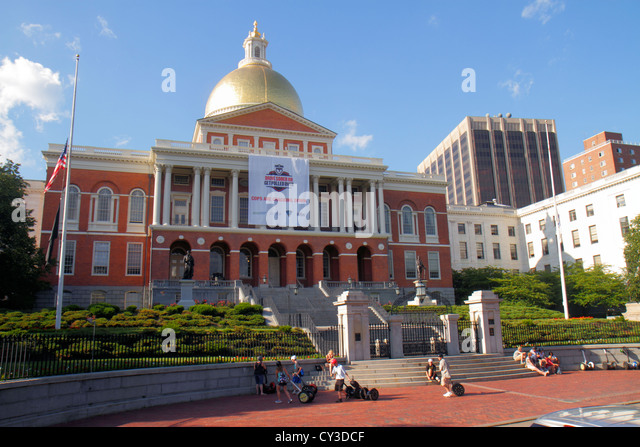 Massachusetts Boston Beacon Street State House gold dome - Stock Image