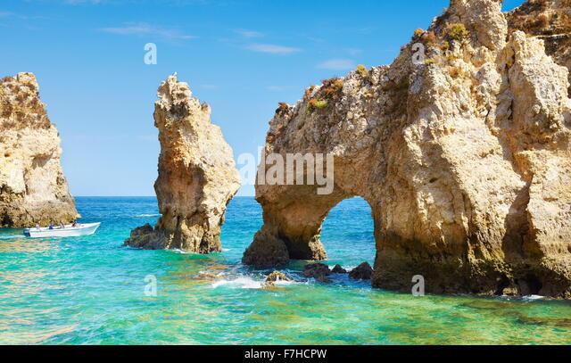 Algarve coast Ponta da Piedade near Lagos, Portugal - Stock Image