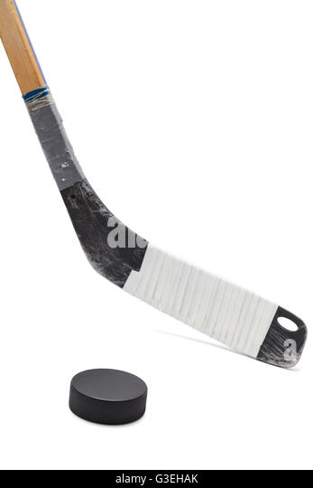 Ice Hockey Stick with Black Puck Isolated on White Background. - Stock Image