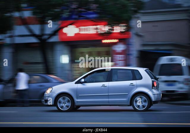 Silver Car At Night Stock Photos Amp Silver Car At Night
