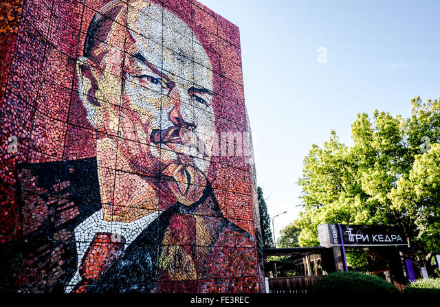 Image of Vladimir Lenin on a wall in the City of Sochi, Russia - Stock Image