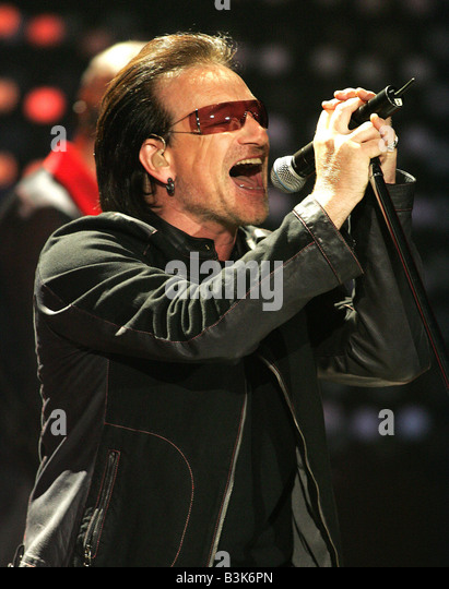 BONO lead singer of Irish rock group  U2 - Stock Image