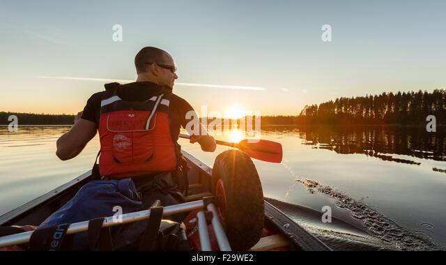 Canoeing at Wanha Witonen route, Petäjävesi, Finland, Europe, EU - Stock Image