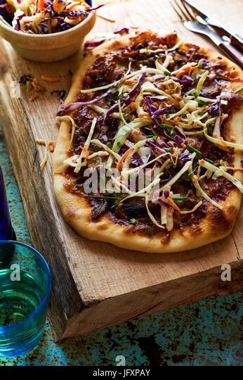 flat bread / Veggie Pizza - Stock Image