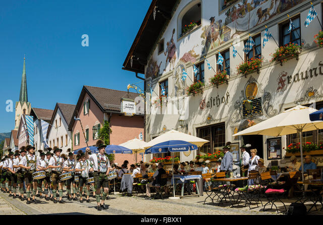Parade, traditional costume parade, Garmisch-Partenkirchen, Upper Bavaria, Bavaria, Germany - Stock Image
