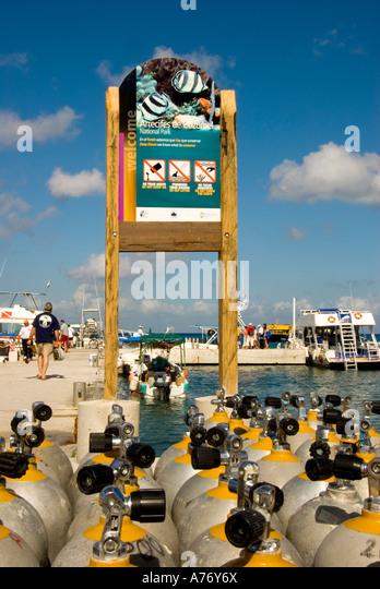 Cozumel Mexico San Miguel town dive boat scuba tanks - Stock Image