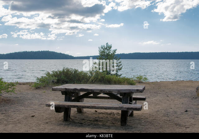 Empty Picnic Table On Lake in central Oregon - Stock Image