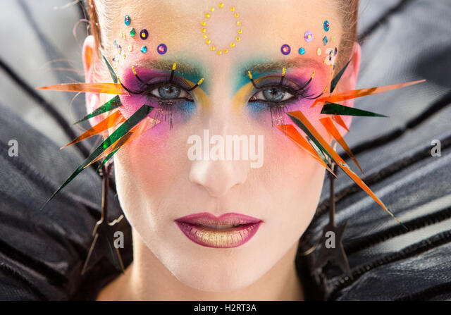London, UK. 2 October 2016. Design by Dora Makovics.  An Ode to Bowie, a make-up and bodypainting competition inspired - Stock Image