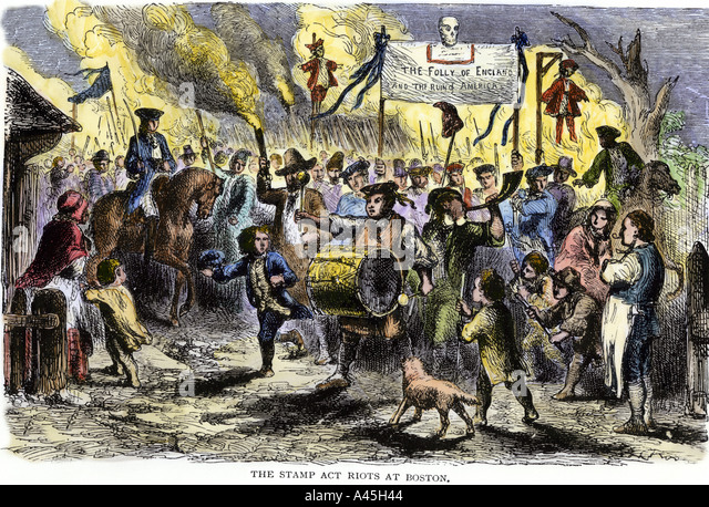 Stamp Act riots in Boston before the Revolutionary War - Stock Image