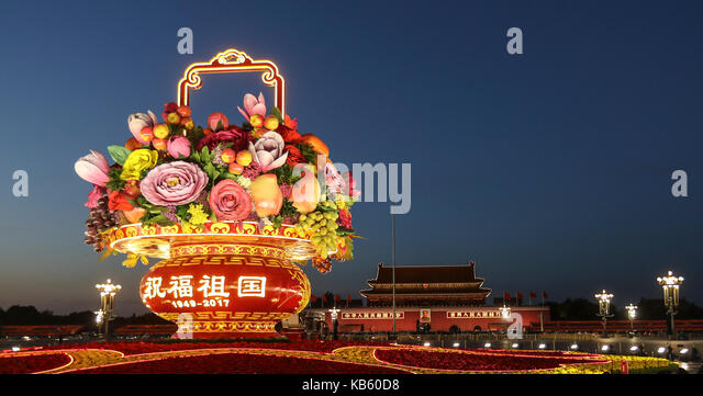 Beijing, China. 28th Sep, 2017. A large flower terrace gleams on the Tian'anmen Square in Beijing, capital of - Stock Image