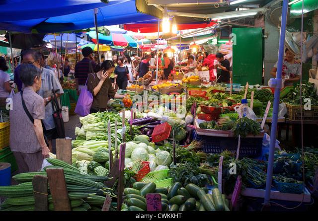 Food market in Hong Kong. 27-Aug-2012 - Stock Image