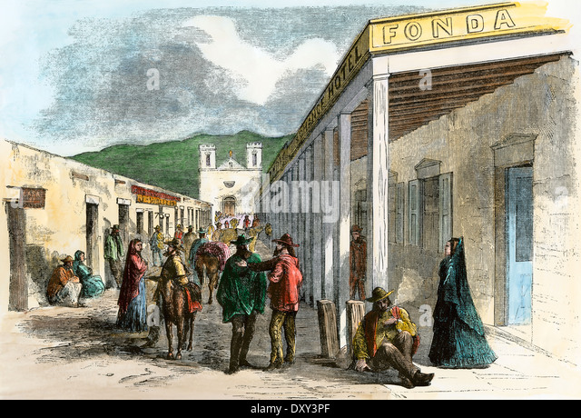 La Fonda Hotel, looking from the Plaza to St Francis Cathedral, Santa Fe NM, 1860s. - Stock Image