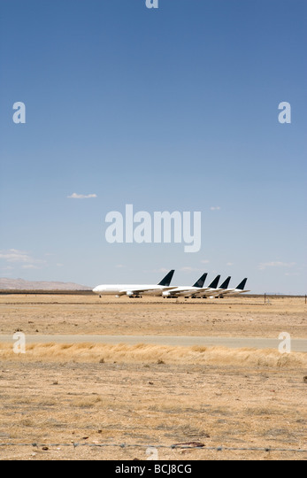 Mothballed jet airplanes aircraft in storage at Mojave Airport Mojave California USA - Stock Image