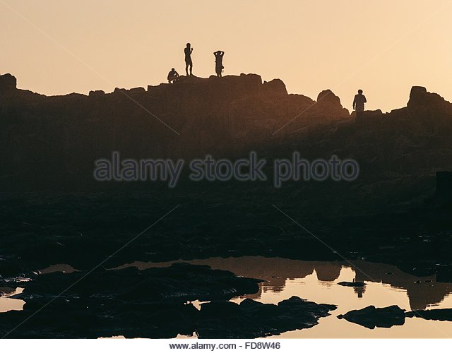 Group Of Silhouette People On Beach Against Clear Sky - Stock-Bilder