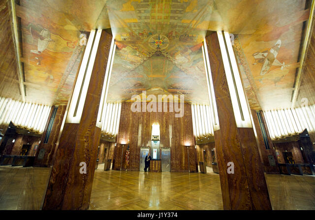 Chrysler building interior stock photos chrysler for Chrysler building lobby mural