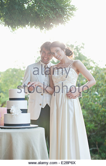 Bride and groom cutting wedding cake - Stock Image