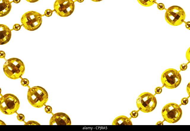 Background made of a brilliant celebratory beads of golden color - Stock Image