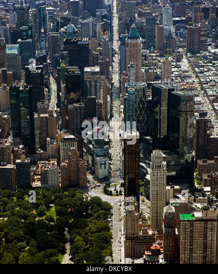 aerial photograph Central Park West, Columbus Circle, 8th Avenue, Manhattan, New York City - Stock Image