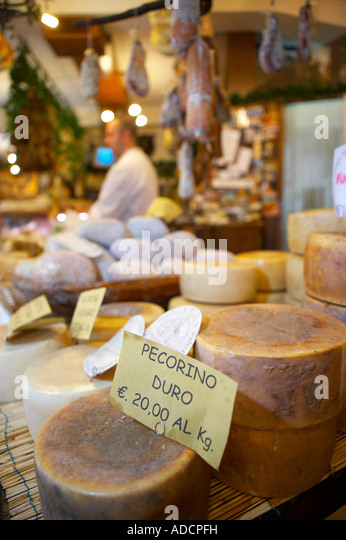 pecorino cheese on display in a shop in Norcia selling local produce Umbria Italy NR - Stock Image