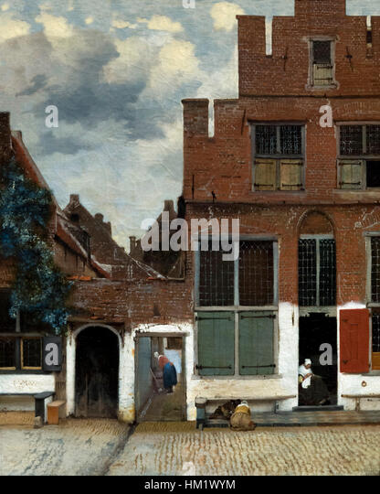 View of Houses in Delft, Little Street, by Johannes  Vermeer, circa 1660, Rijksmuseum, Amsterdam, Netherlands, Europe - Stock Image