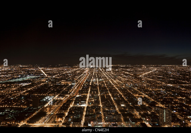 Night cityscape, Chicago, Illinois, USA - Stock Image